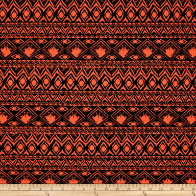 Double Knit Aztec Abstract Orange Neon
