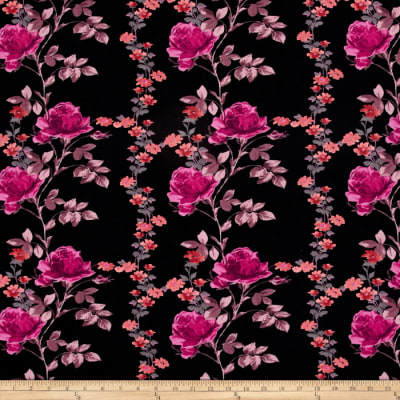 Jersey Knit Traditional Flowers Mauve
