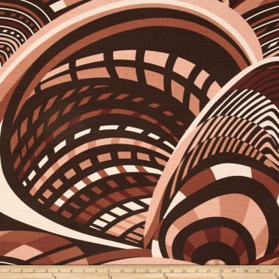 Jersey Knit Abstract Lines Brown