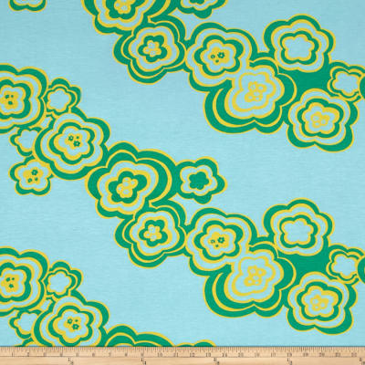Jersey Knit Large Abstract Floral Green
