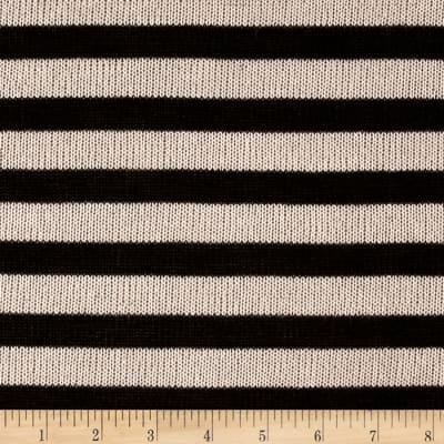 Stripe Sweater Knit Black Cream