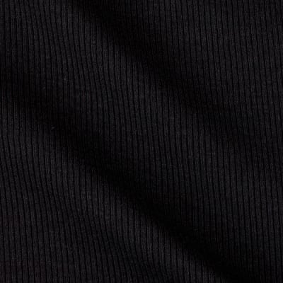 Cotton Blend Rib Knit Black