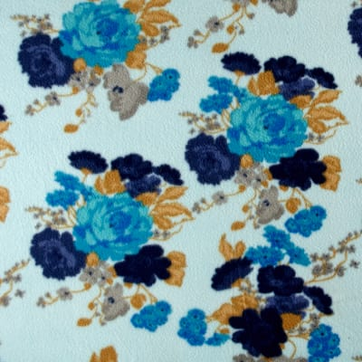 Printed Fleece Abstract Flowers Blue