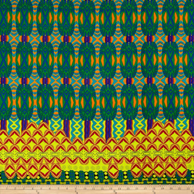 Woven Double Border Print Yellow/Green