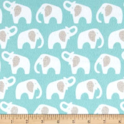 Cloud 9 Organic Flannel Elephants Turquoise