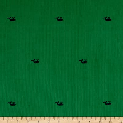 Kaufman Embroidered Corduroy 21 Wale Whales Kelly