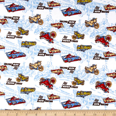 Transportation Cotton Spandex Jersey Knit Motor Cross Print