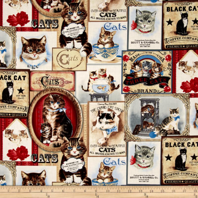Timeless Treasures Cat Labels Cream
