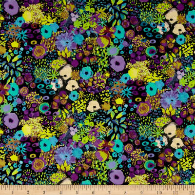 Liberty Fabrics Tana Lawn Small Artist's Bloom Black