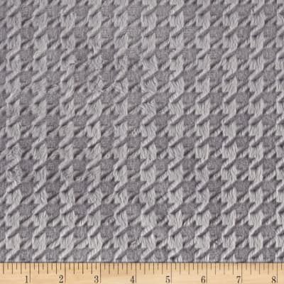 Shannon Minky Cuddle Embossed Houndstooth Silver