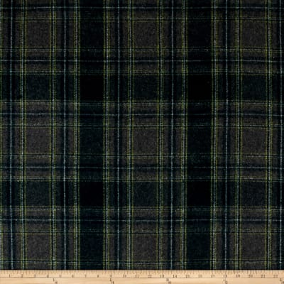 Wool Blend Melton Plaid Navy/Green