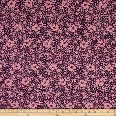 Fabric Merchants Cotton Lycra Spandex Jersey Knit Floral Pink