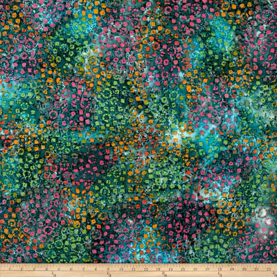 Indian Batik Footloose Circles  Teal Multi