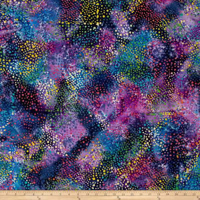 Indian Batik Cascades Dots  Blu/Pink Multi