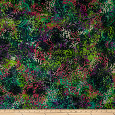 Indian Batik Cascades Scroll  Teal/Pnk/Prp