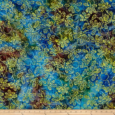 Indian Batik Gypsy Floral Blue/Yellow