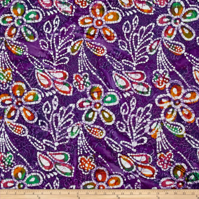 Indian Batik Caledonia Garden Large Floral Purple