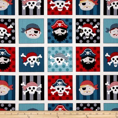 Pirates Pirate Faces in Squares Multi/Blue