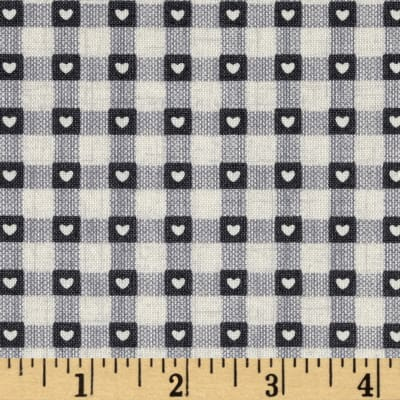 Scandi 3 Heart Plaid Linen/Gray