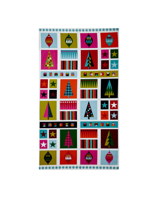 Wrap It Up Abstract Christmas Icons 23 In. Panel Multi