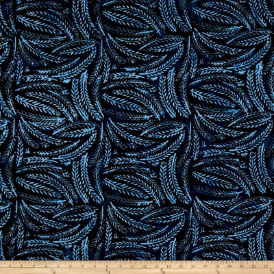 Wilmington Batiks Fern Leaves Dk. Blue