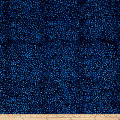 Wilmington Batiks Curling Leaves Dark Blue