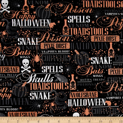 Potions & Spells  Metallic Halloween Lingo Black
