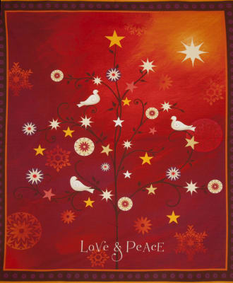 QT Fabrics Love & Peace 36 in. Panel Red