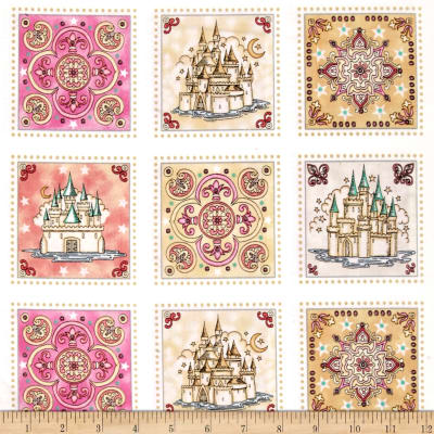 "QT Fabrics Royal Princess Castle & Medallion 23"" Panel Patch Multi"