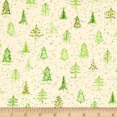 QT Fabrics Naughty Or Nice? Christmas Trees Ecru/Light Green