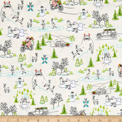 QT Fabrics Naughty Or Nice? Silly Christmas Scenic Ecru
