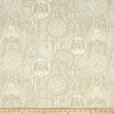 QT Fabrics Heavenly Angel Medallions Toile Natural