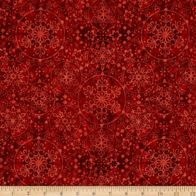 Santa Coming To Town Snowflake Medallions Dark Red
