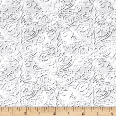 QT Fabrics Christmas Dreams Scroll Lt Pewter