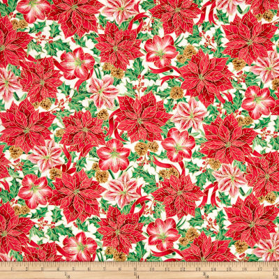 Joy To The World Metallic Poinsettia & Amaryllis Cream