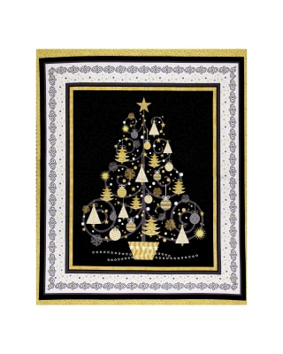All That Glitters Metallic Christmas Tree 36 In. Panel Black