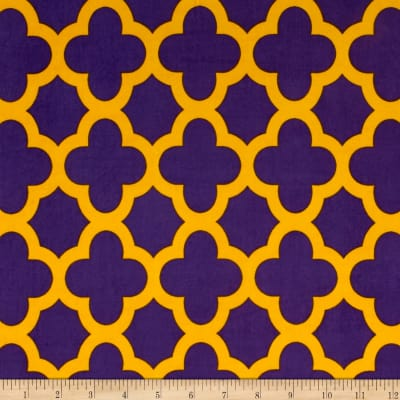 Stretch ITY Knit Quatrefoil Print Purple/Gold