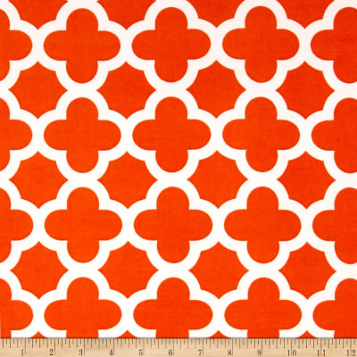 Stretch ITY Knit Quatrefoil Print Orange