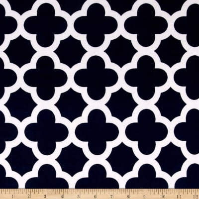 Stretch ITY Knit Quatrefoil Print Navy