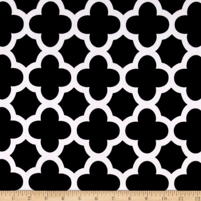 Stretch ITY Knit Quatrefoil Print Black