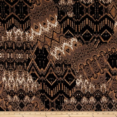 Stretch ITY Knit Aztec Print Tan/Black