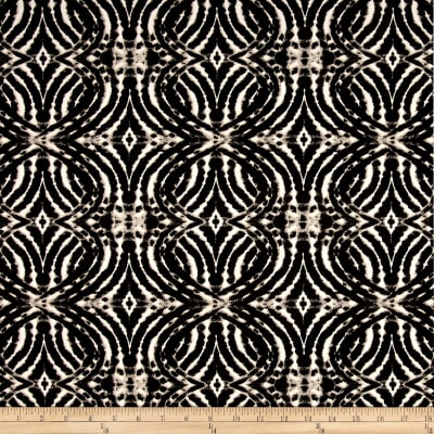 Stretch ITY Knit Circle Optical Print Illusion Black/White