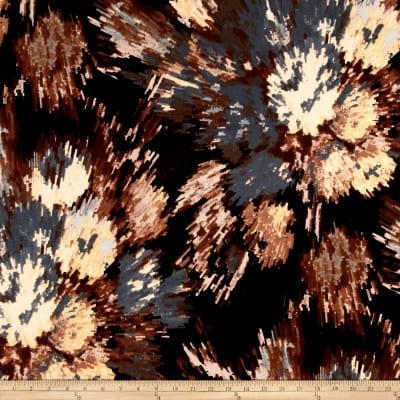Stretch ITY Knit Starburst Print Abstract Brown/Blue