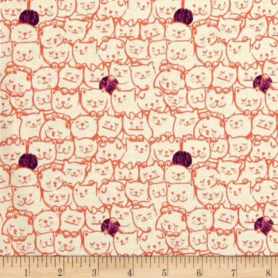 Cotton + Steel Cat Lady Stack O Cats Coral