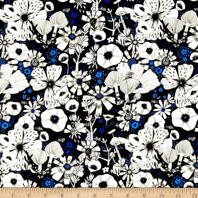 Cotton + Steel Cat Lady Rayon Challis Hiding Spot Black