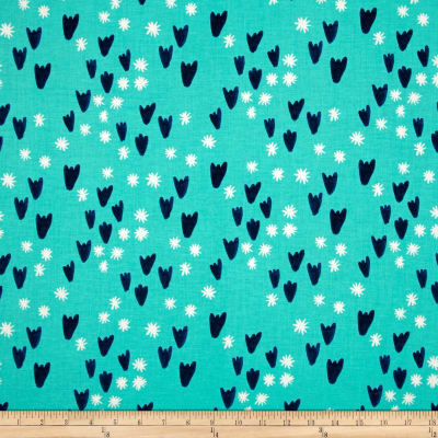 Cotton + Steel Clover Tulips Aqua