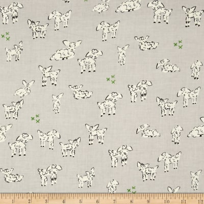 Cotton + Steel Clover Little Lambs Grey
