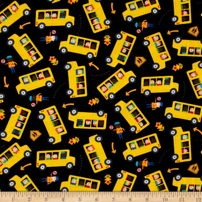 Timeless Treasures School Buses Black