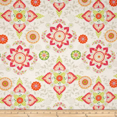 Timeless Treasures Boho Safari Medallion Floral Cream