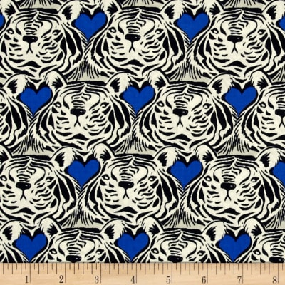 Cotton + Steel Bluebird Tiger Heart Blue